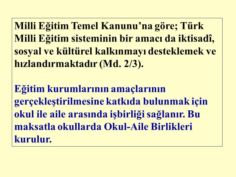 Milli Eğitim Temel Kanunu'na göre; Türk Milli Eğitim sisteminin bir amacı da iktisadî, sosyal ve kültürel kalkınmayı desteklemek ve hızlandırmaktadır (Md. 2/3).