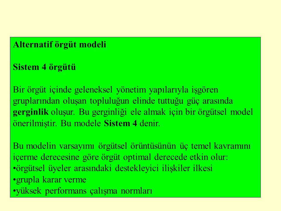 Alternatif örgüt modeli