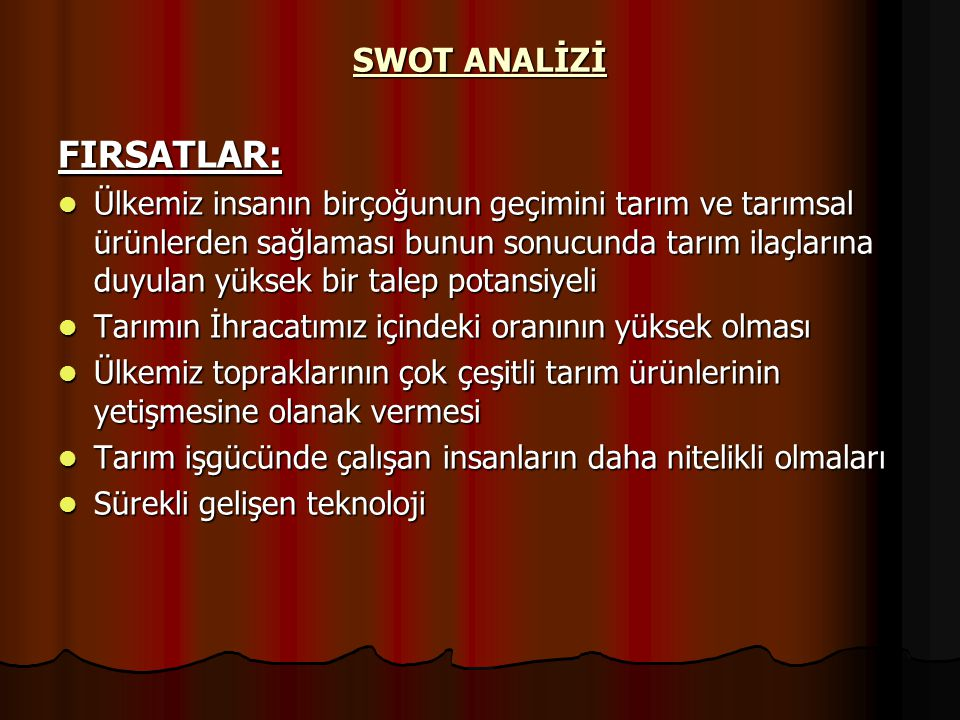 FIRSATLAR: SWOT ANALİZİ