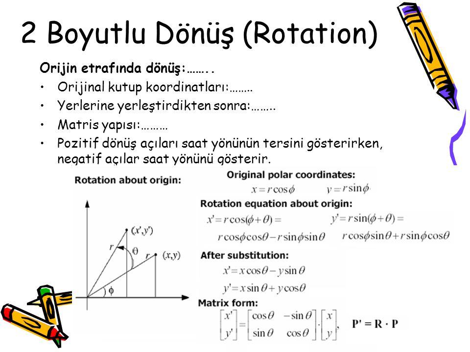 2 Boyutlu Dönüş (Rotation)