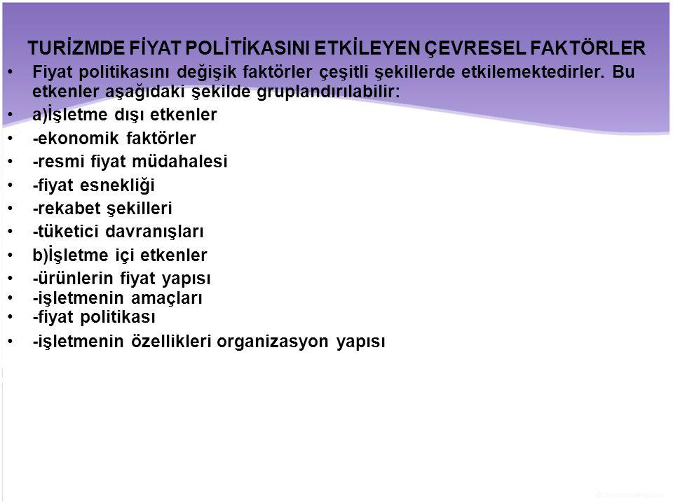 TURİZMDE FİYAT POLİTİKASINI ETKİLEYEN ÇEVRESEL FAKTÖRLER
