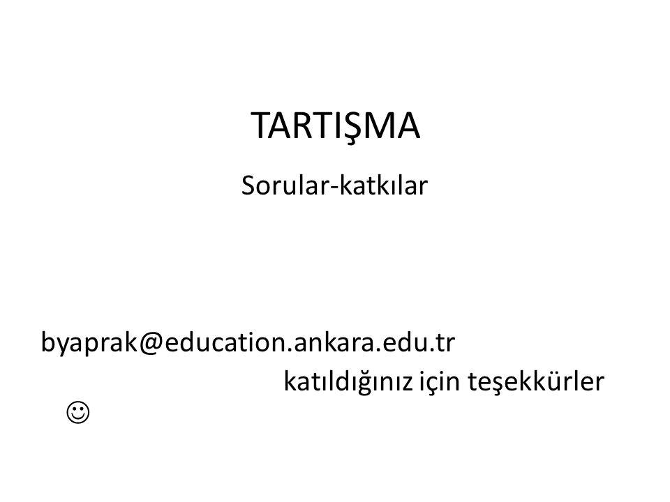 TARTIŞMA Sorular-katkılar byaprak@education.ankara.edu.tr katıldığınız için teşekkürler 