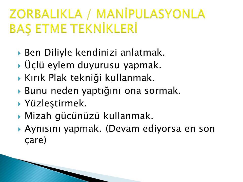 ZORBALIKLA / MANİPULASYONLA BAŞ ETME TEKNİKLERİ