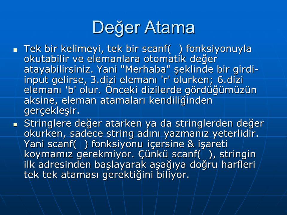 Değer Atama