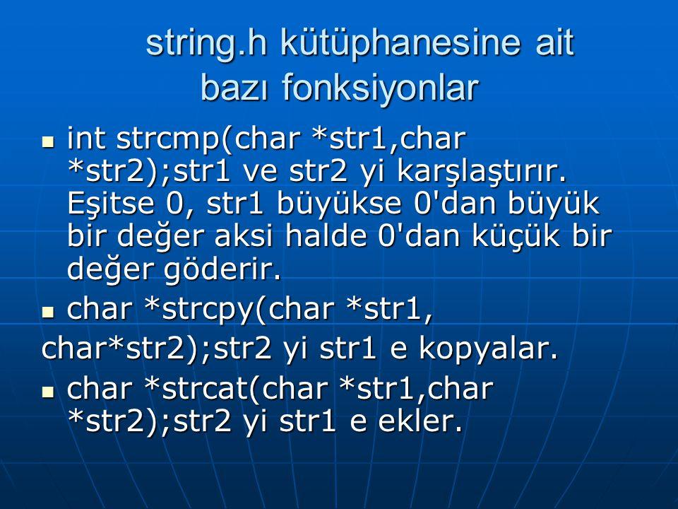string.h kütüphanesine ait bazı fonksiyonlar
