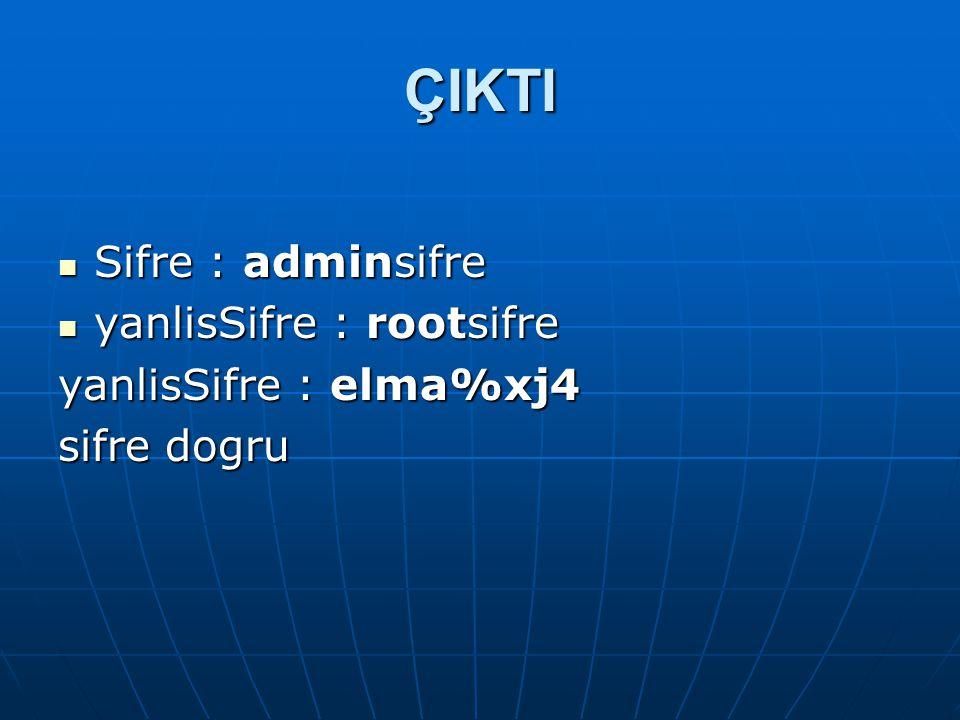 ÇIKTI Sifre : adminsifre yanlisSifre : rootsifre