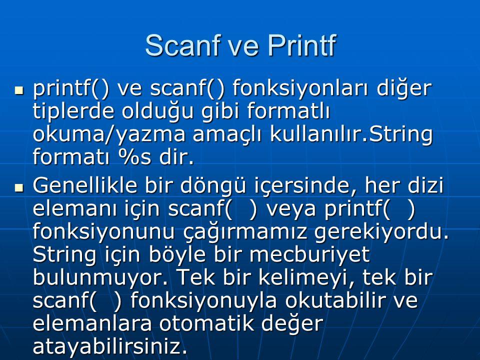 Scanf ve Printf printf() ve scanf() fonksiyonları diğer tiplerde olduğu gibi formatlı okuma/yazma amaçlı kullanılır.String formatı %s dir.