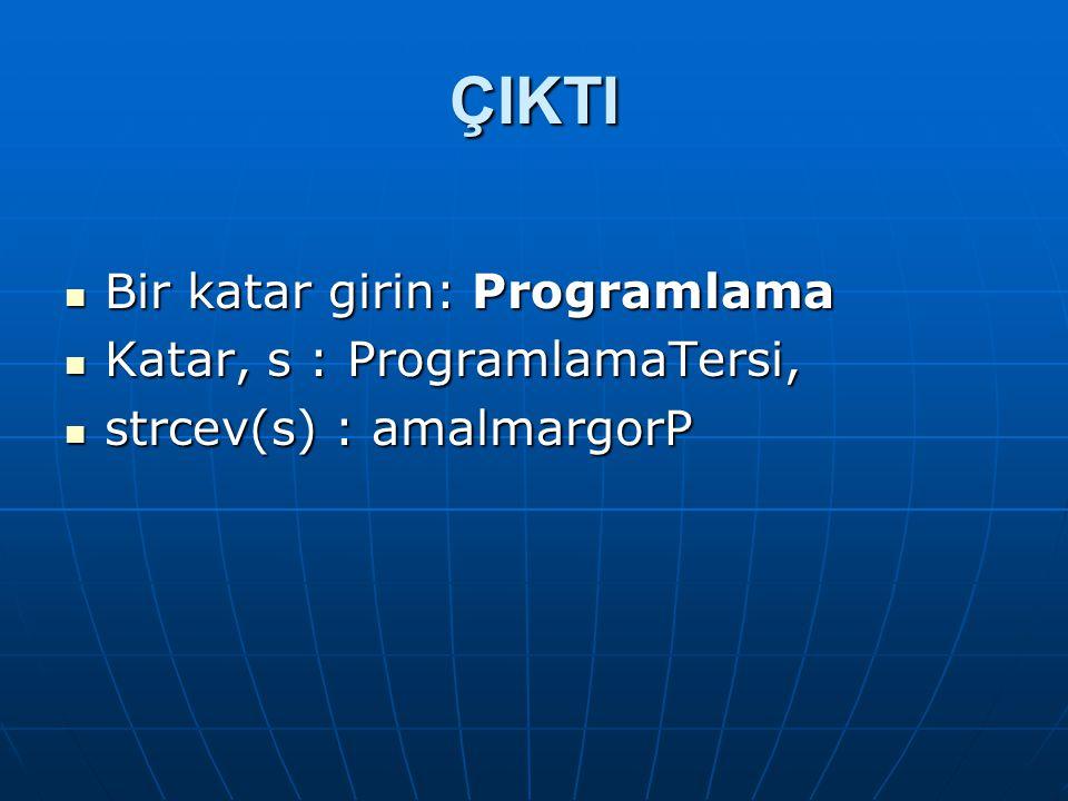 ÇIKTI Bir katar girin: Programlama Katar, s : ProgramlamaTersi,