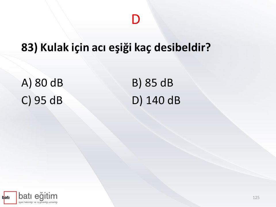 D 83) Kulak için acı eşiği kaç desibeldir A) 80 dB B) 85 dB