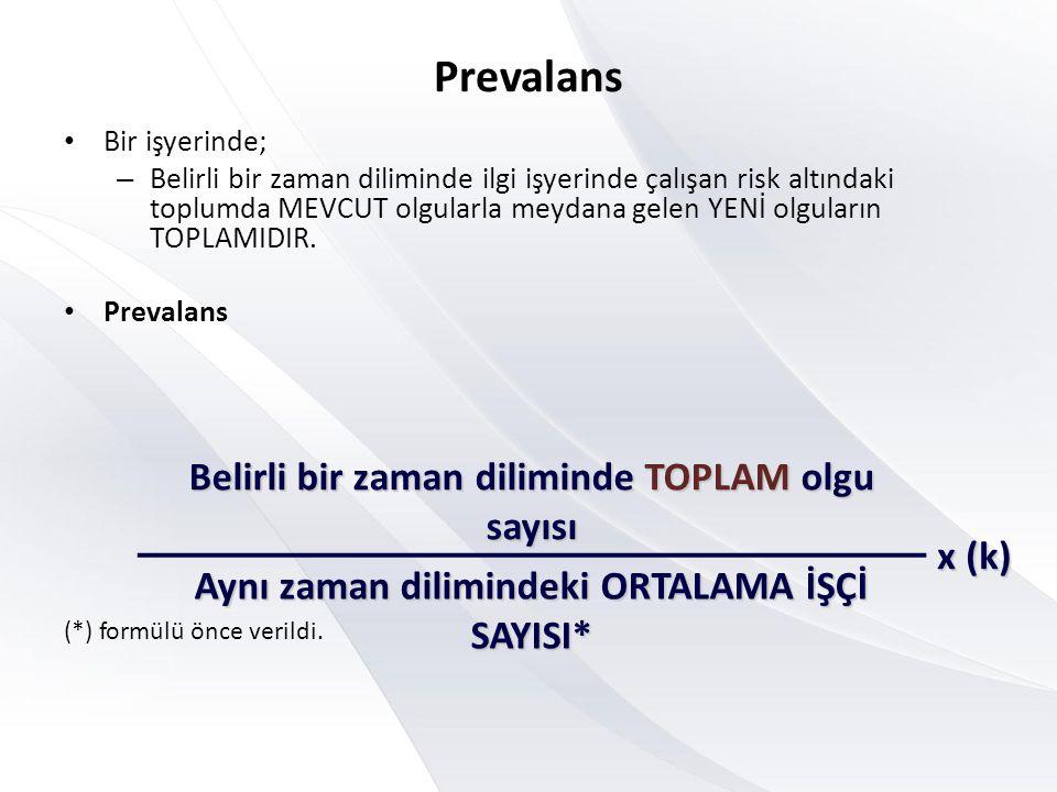 Prevalans Belirli bir zaman diliminde TOPLAM olgu sayısı x (k)