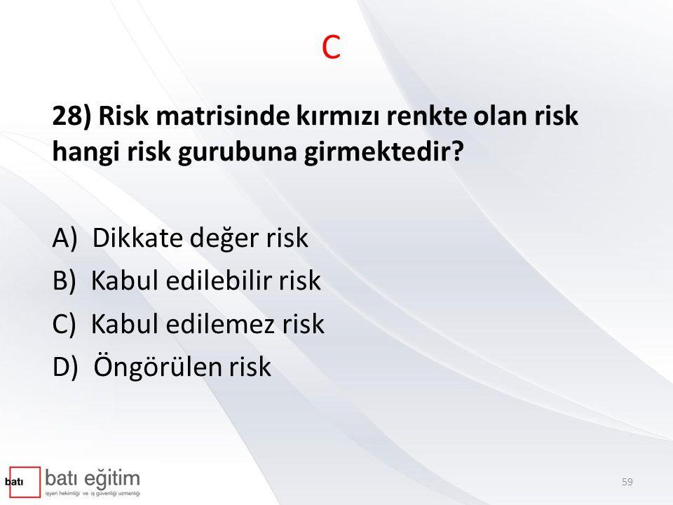 C 28) Risk matrisinde kırmızı renkte olan risk hangi risk gurubuna girmektedir A) Dikkate değer risk.