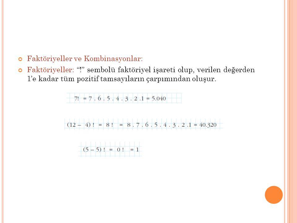 Faktöriyeller ve Kombinasyonlar: