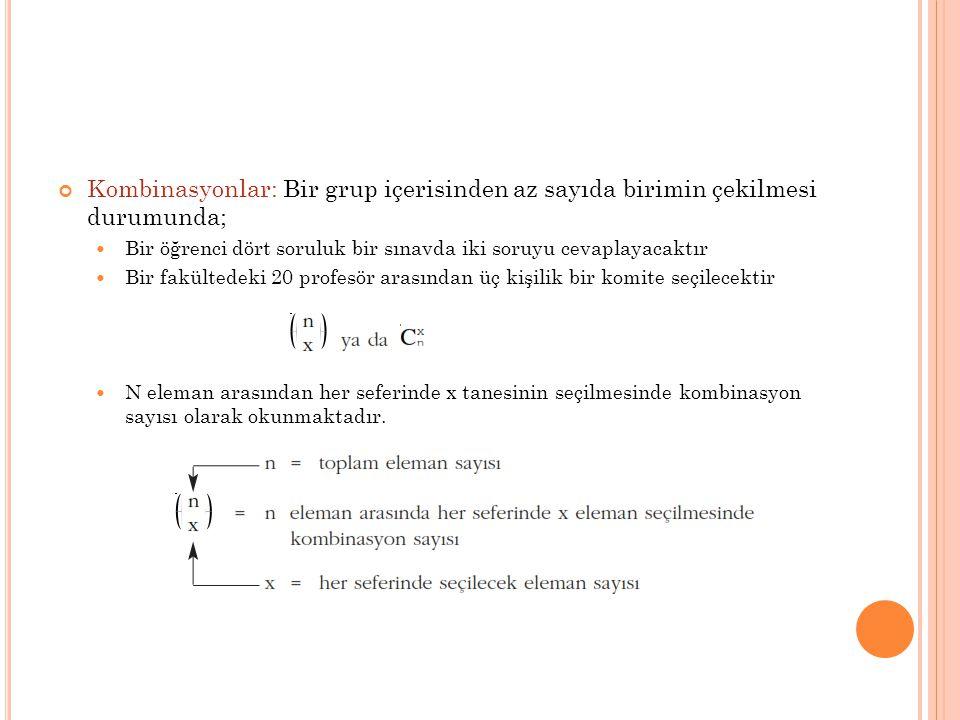 Kombinasyonlar: Bir grup içerisinden az sayıda birimin çekilmesi durumunda;