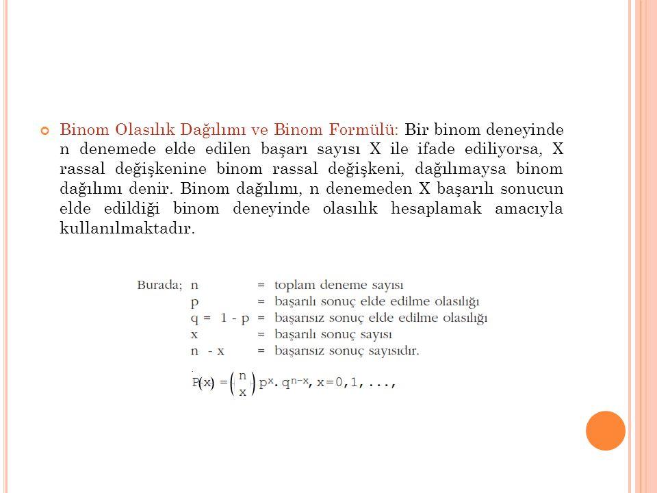 Binom Olasılık Dağılımı ve Binom Formülü: Bir binom deneyinde n denemede elde edilen başarı sayısı X ile ifade ediliyorsa, X rassal değişkenine binom rassal değişkeni, dağılımaysa binom dağılımı denir.