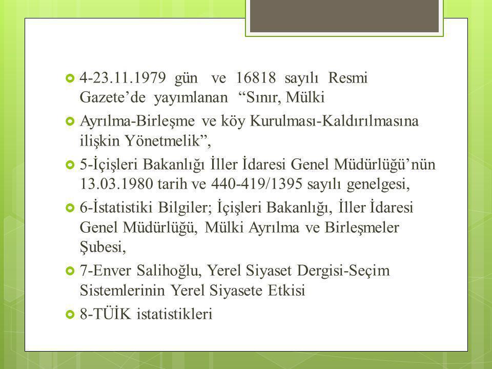 4-23.11.1979 gün ve 16818 sayılı Resmi Gazete'de yayımlanan Sınır, Mülki