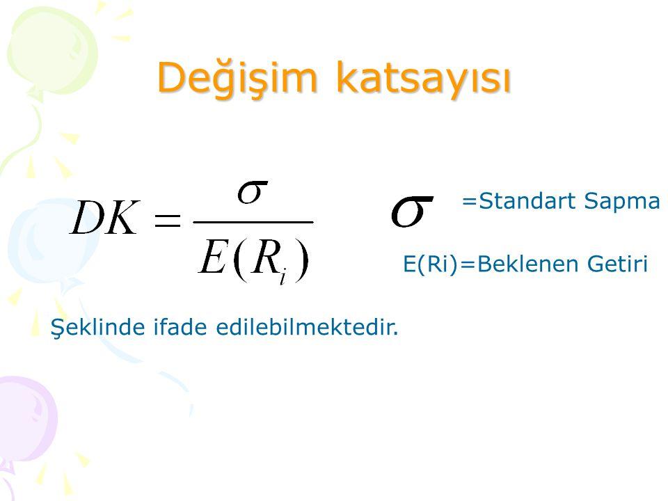 Değişim katsayısı E(Ri)=Beklenen Getiri
