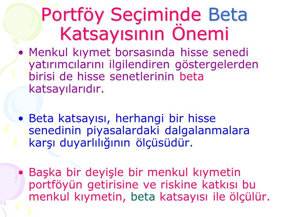 Portföy Seçiminde Beta Katsayısının Önemi