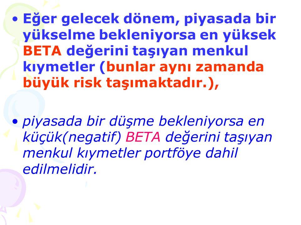 Eğer gelecek dönem, piyasada bir yükselme bekleniyorsa en yüksek BETA değerini taşıyan menkul kıymetler (bunlar aynı zamanda büyük risk taşımaktadır.),