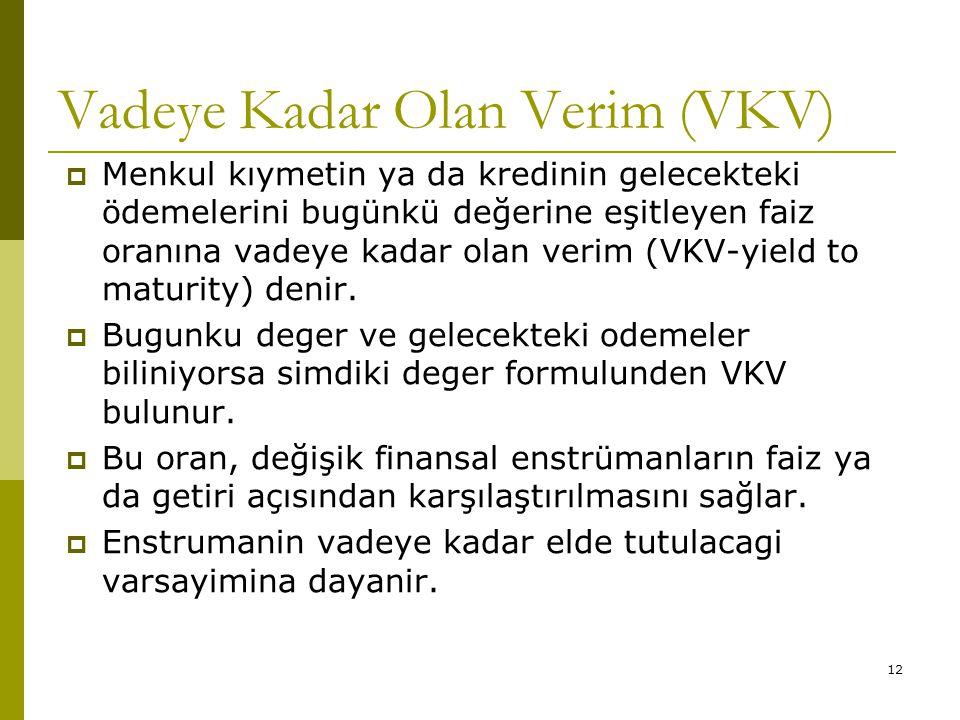 Vadeye Kadar Olan Verim (VKV)