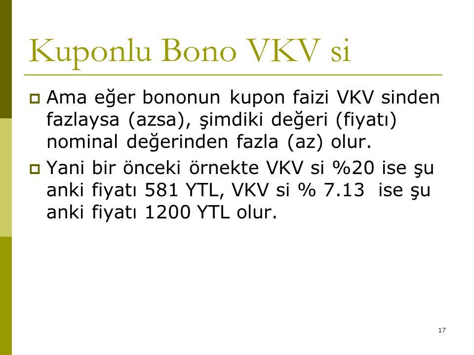 Kuponlu Bono VKV si Ama eğer bononun kupon faizi VKV sinden fazlaysa (azsa), şimdiki değeri (fiyatı) nominal değerinden fazla (az) olur.