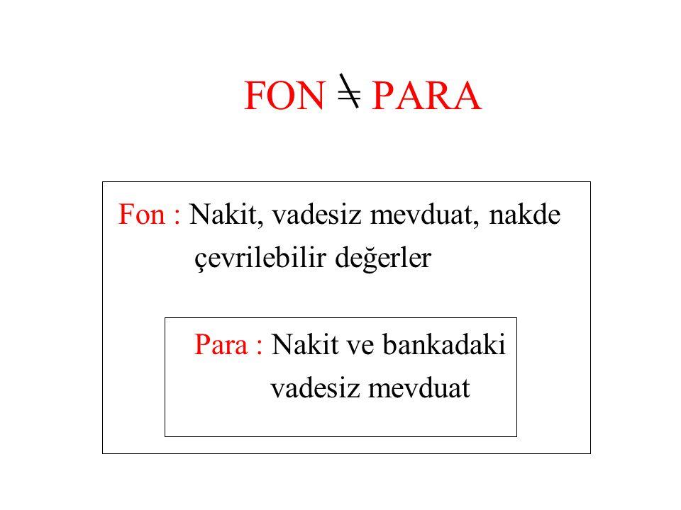 FON = PARA Fon : Nakit, vadesiz mevduat, nakde çevrilebilir değerler