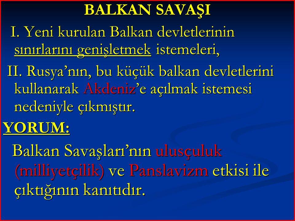 BALKAN SAVAŞI I. Yeni kurulan Balkan devletlerinin sınırlarını genişletmek istemeleri,