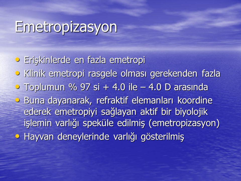 Emetropizasyon Erişkinlerde en fazla emetropi