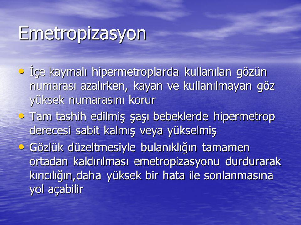 Emetropizasyon İçe kaymalı hipermetroplarda kullanılan gözün numarası azalırken, kayan ve kullanılmayan göz yüksek numarasını korur.