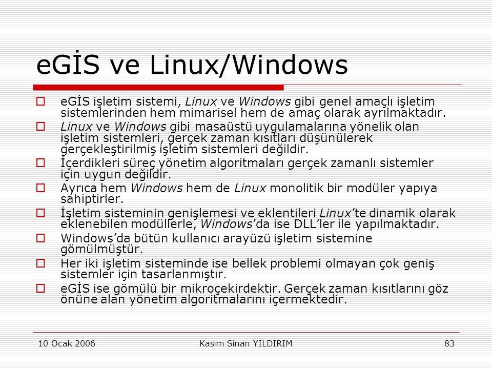 eGİS ve Linux/Windows eGİS işletim sistemi, Linux ve Windows gibi genel amaçlı işletim sistemlerinden hem mimarisel hem de amaç olarak ayrılmaktadır.