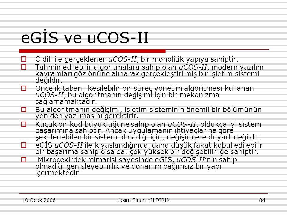 eGİS ve uCOS-II C dili ile gerçeklenen uCOS-II, bir monolitik yapıya sahiptir.