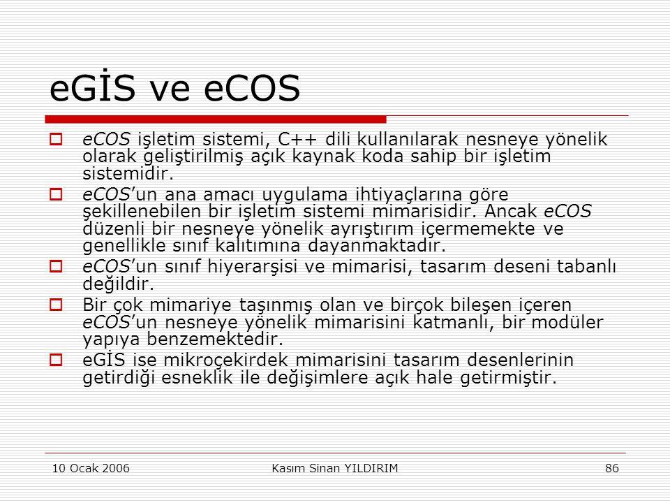 eGİS ve eCOS eCOS işletim sistemi, C++ dili kullanılarak nesneye yönelik olarak geliştirilmiş açık kaynak koda sahip bir işletim sistemidir.