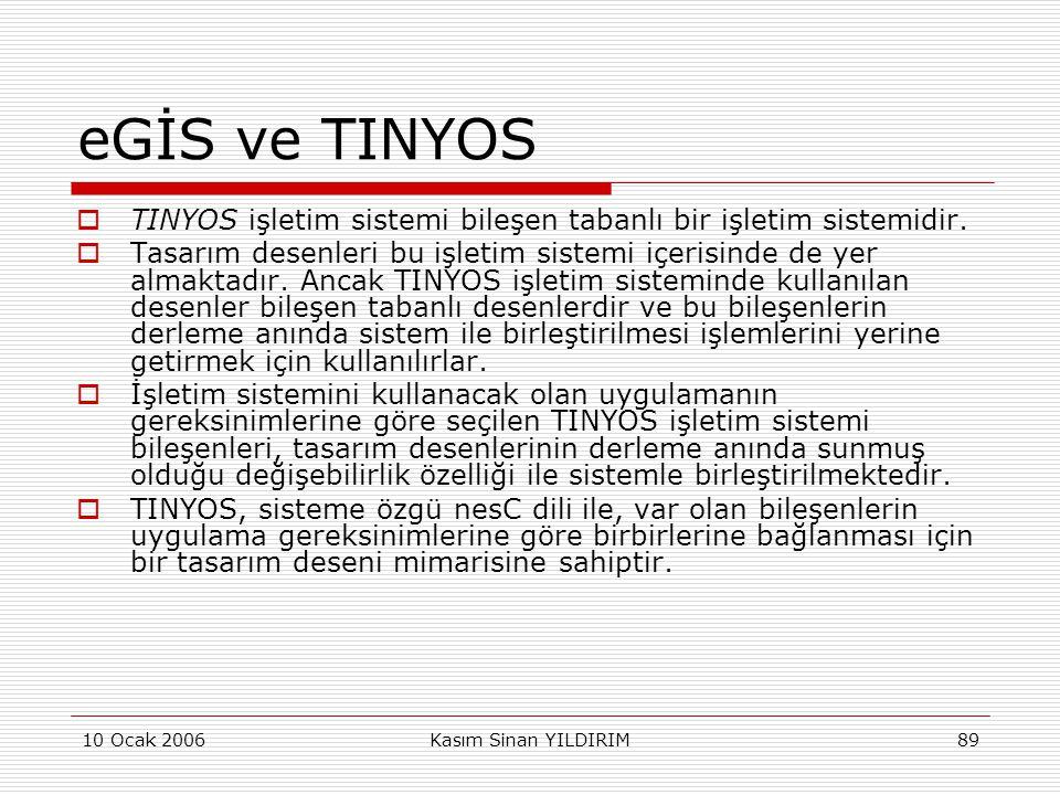 eGİS ve TINYOS TINYOS işletim sistemi bileşen tabanlı bir işletim sistemidir.
