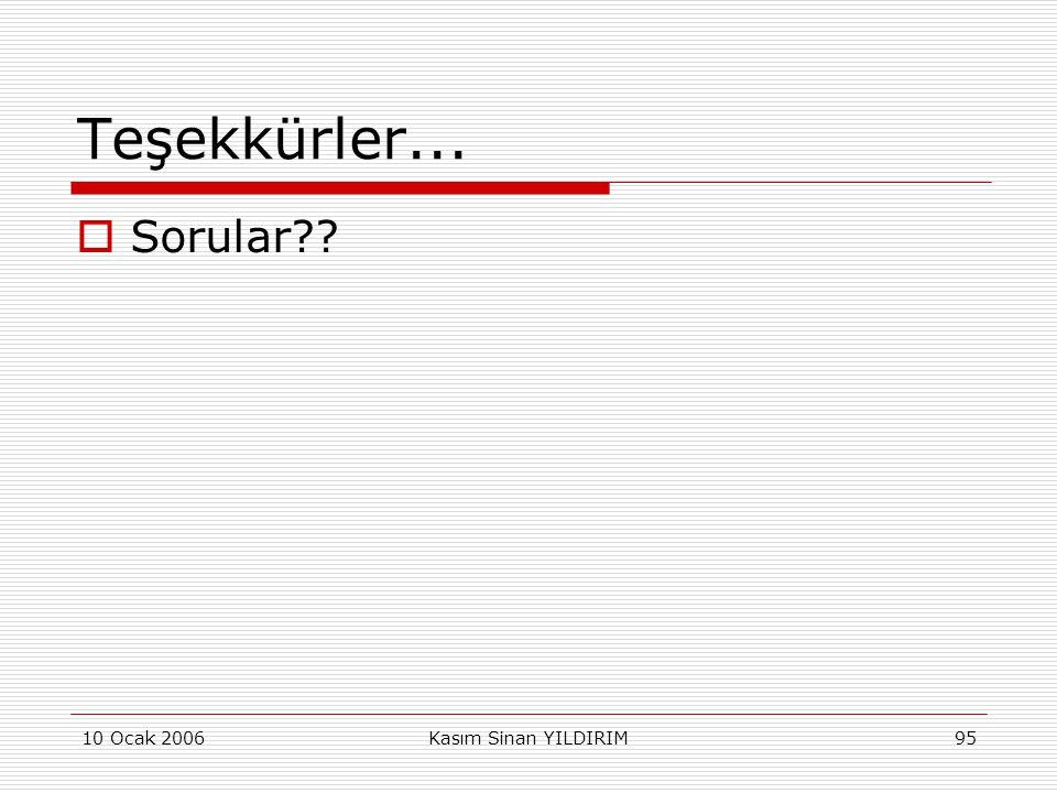 Teşekkürler... Sorular 10 Ocak 2006 Kasım Sinan YILDIRIM