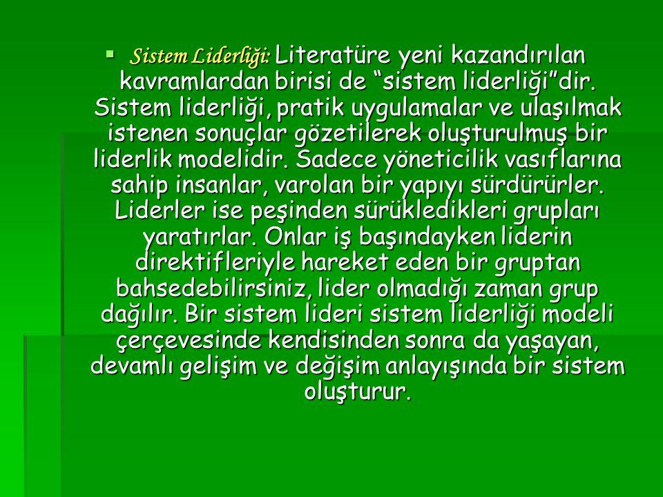 Sistem Liderliği: Literatüre yeni kazandırılan kavramlardan birisi de sistem liderliği dir.