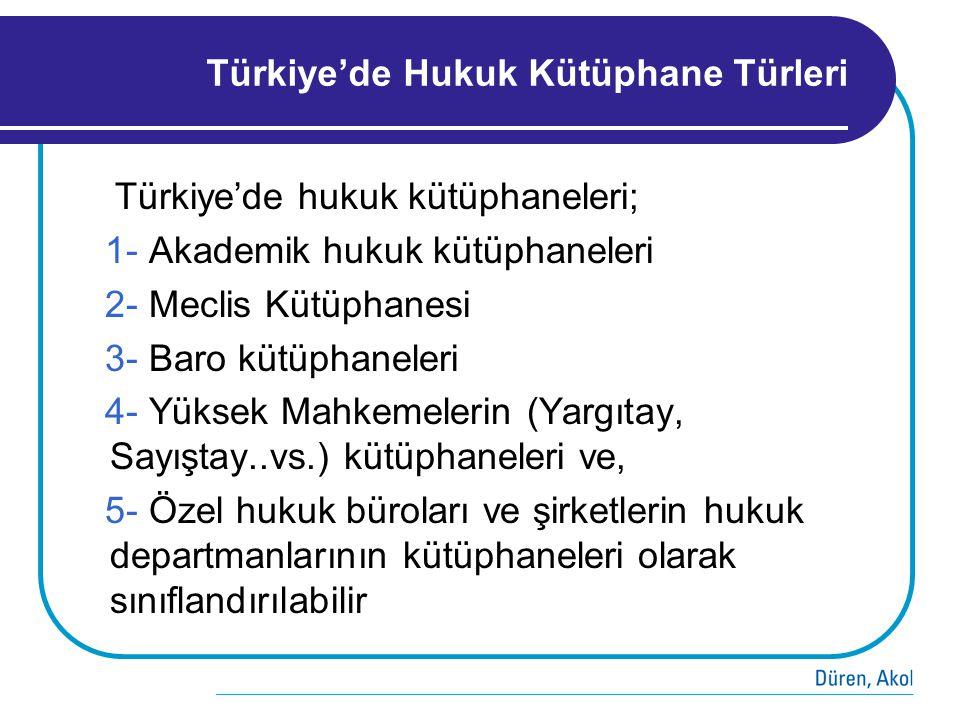 Türkiye'de Hukuk Kütüphane Türleri