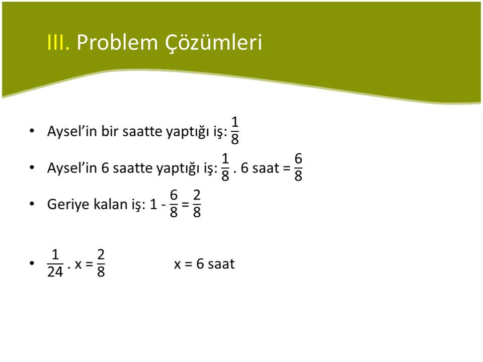 III. Problem Çözümleri
