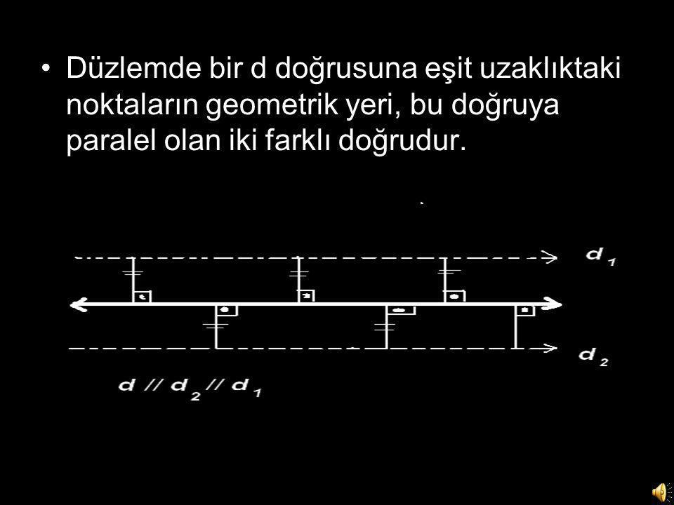 Düzlemde bir d doğrusuna eşit uzaklıktaki noktaların geometrik yeri, bu doğruya paralel olan iki farklı doğrudur.