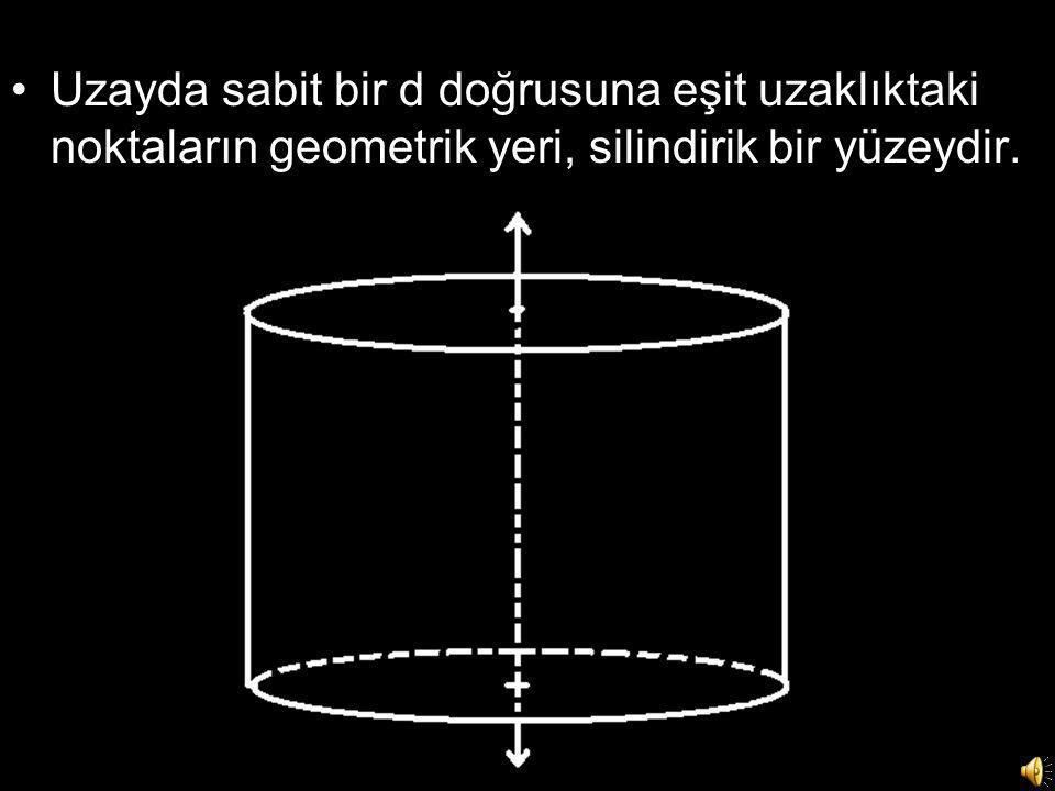 Uzayda sabit bir d doğrusuna eşit uzaklıktaki noktaların geometrik yeri, silindirik bir yüzeydir.