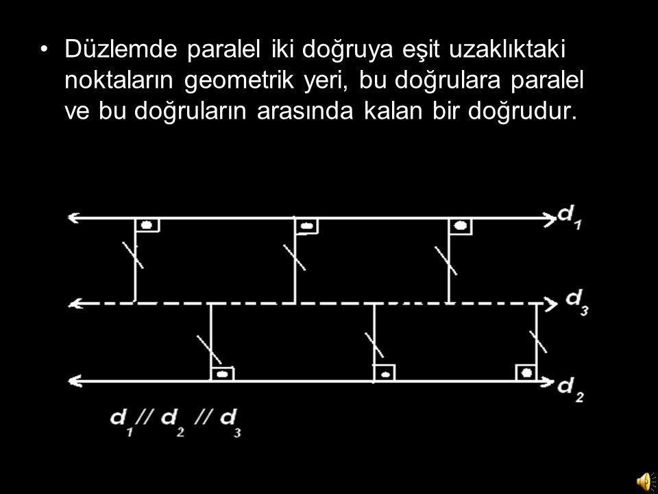 Düzlemde paralel iki doğruya eşit uzaklıktaki noktaların geometrik yeri, bu doğrulara paralel ve bu doğruların arasında kalan bir doğrudur.