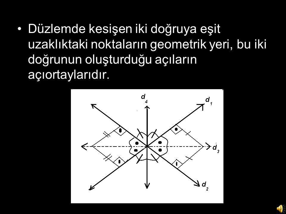 Düzlemde kesişen iki doğruya eşit uzaklıktaki noktaların geometrik yeri, bu iki doğrunun oluşturduğu açıların açıortaylarıdır.