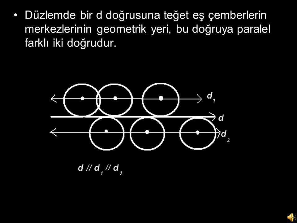 Düzlemde bir d doğrusuna teğet eş çemberlerin merkezlerinin geometrik yeri, bu doğruya paralel farklı iki doğrudur.