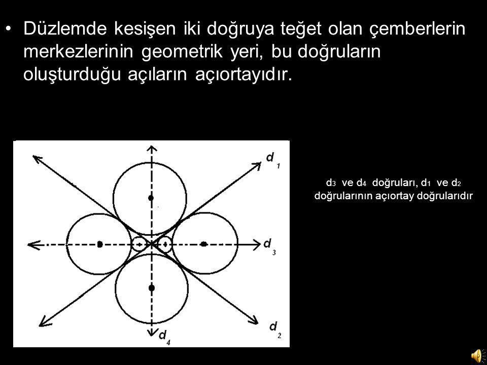 d3 ve d4 doğruları, d1 ve d2 doğrularının açıortay doğrularıdır
