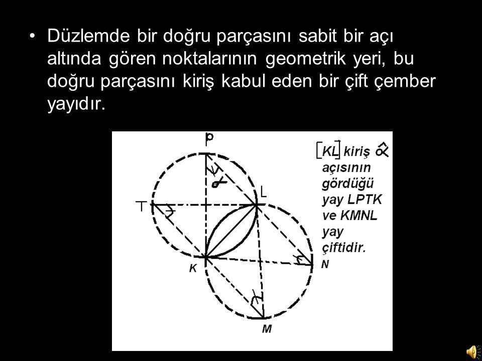 Düzlemde bir doğru parçasını sabit bir açı altında gören noktalarının geometrik yeri, bu doğru parçasını kiriş kabul eden bir çift çember yayıdır.