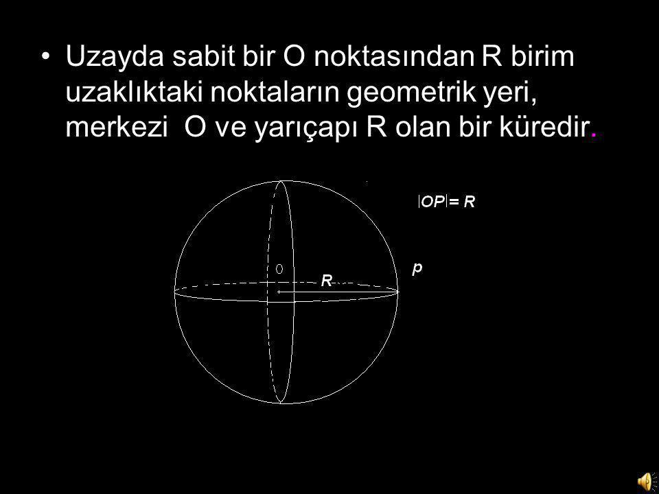 Uzayda sabit bir O noktasından R birim uzaklıktaki noktaların geometrik yeri, merkezi O ve yarıçapı R olan bir küredir.