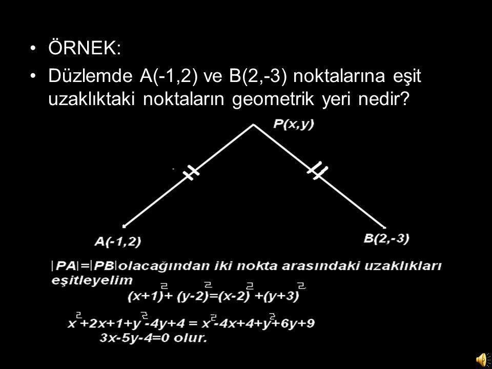 ÖRNEK: Düzlemde A(-1,2) ve B(2,-3) noktalarına eşit uzaklıktaki noktaların geometrik yeri nedir