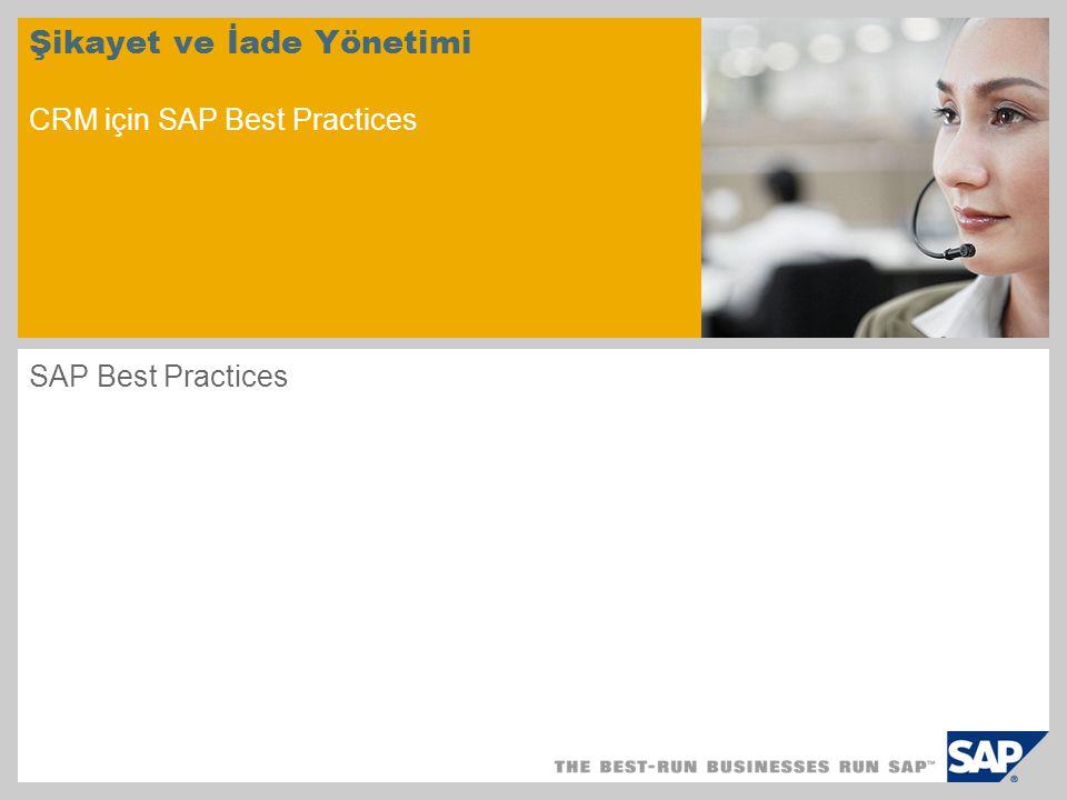 Şikayet ve İade Yönetimi CRM için SAP Best Practices