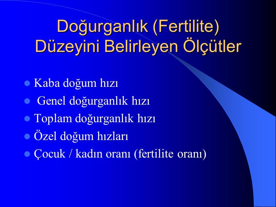 Doğurganlık (Fertilite) Düzeyini Belirleyen Ölçütler
