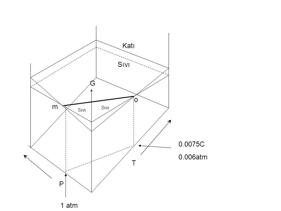 Katı Sıvı G o m Sıvı Sıvı 0.0075C 0.006atm T P 1 atm