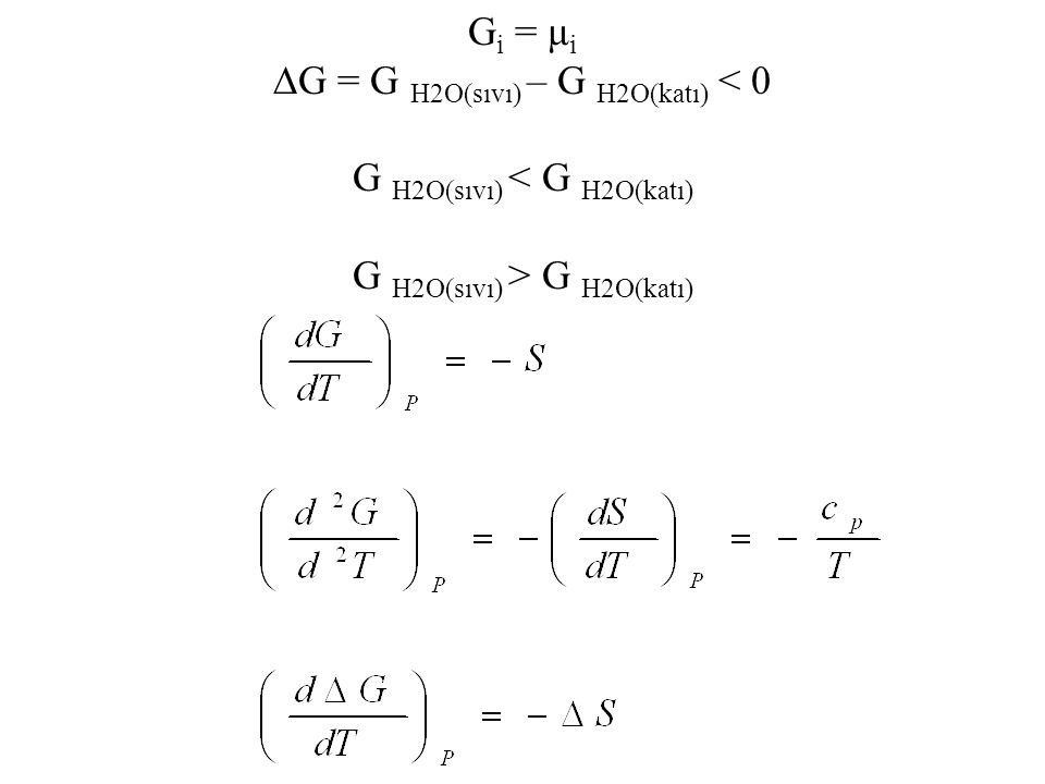 ∆G = G H2O(sıvı) – G H2O(katı) < 0 G H2O(sıvı) < G H2O(katı)