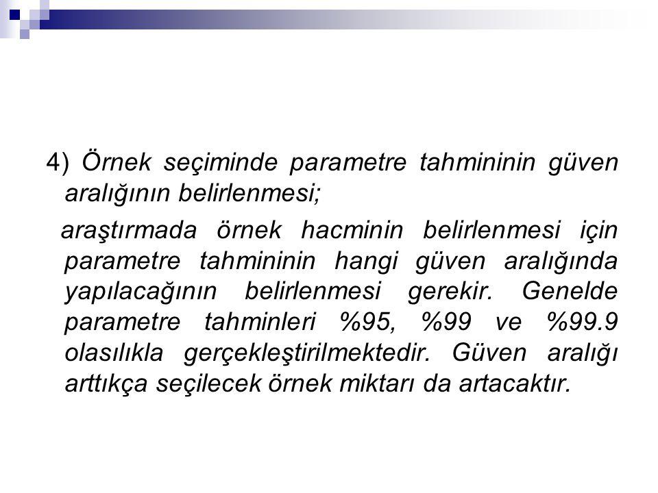 4) Örnek seçiminde parametre tahmininin güven aralığının belirlenmesi;